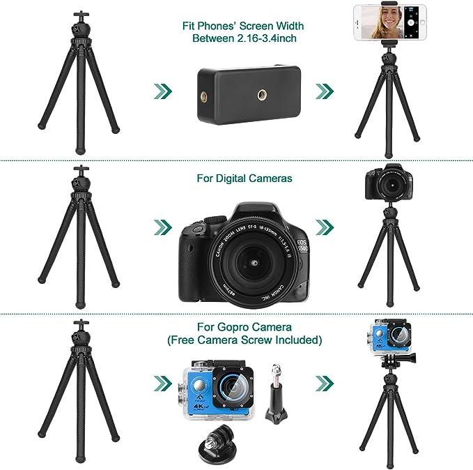 Trípode para móvil, HOVNEE-BL-01 Trípode Flexible con Control Remoto Bluetooth, Soporte de la cámara y del móvil.para la mayoría de Las cámaras de ...