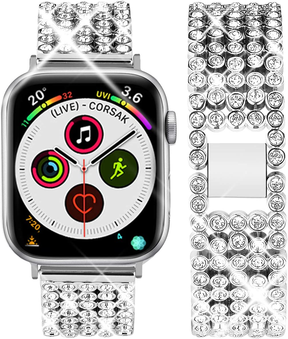 Goton Band Compatible with Apple Watch Band 40mm 38mm, Women Rhinestone Beads Link Crystal Bling Stainless Metal Replacement Strap for iWatch Band Series 5 4 3 2 1 (Silver, 40mm 38mm)