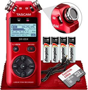 Tascam DR-05X Stereo Handheld Digital Audio Recorder with USB Audio Interface (Red) + Micro SDHC 16GB, Auxiliary Cable, Batteries & Fibertique Microfiber Cleaning Cloth