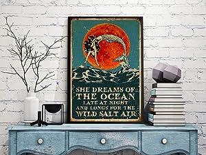 VinMea Metal Tin Sign,She Dreams of The Ocean Mermaid Mermaid Lover, Girl Ocean Wave Aluminum Sign Wall Art Decor Metal Sign,Public Sign,Decoration Sign 18x12 Inches
