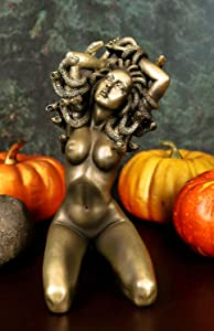 "Ebros Greek Mythology Kneeling Nude Goddess Medusa with Snake Hair Statue 6"" Tall Temptation Seduction of The Demonic Gorgon Deity Medusa Gorgonic Sisters Figurine"