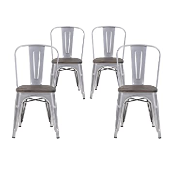 buschman set of four gray wooden seat tolixstyle metal stackable chairs