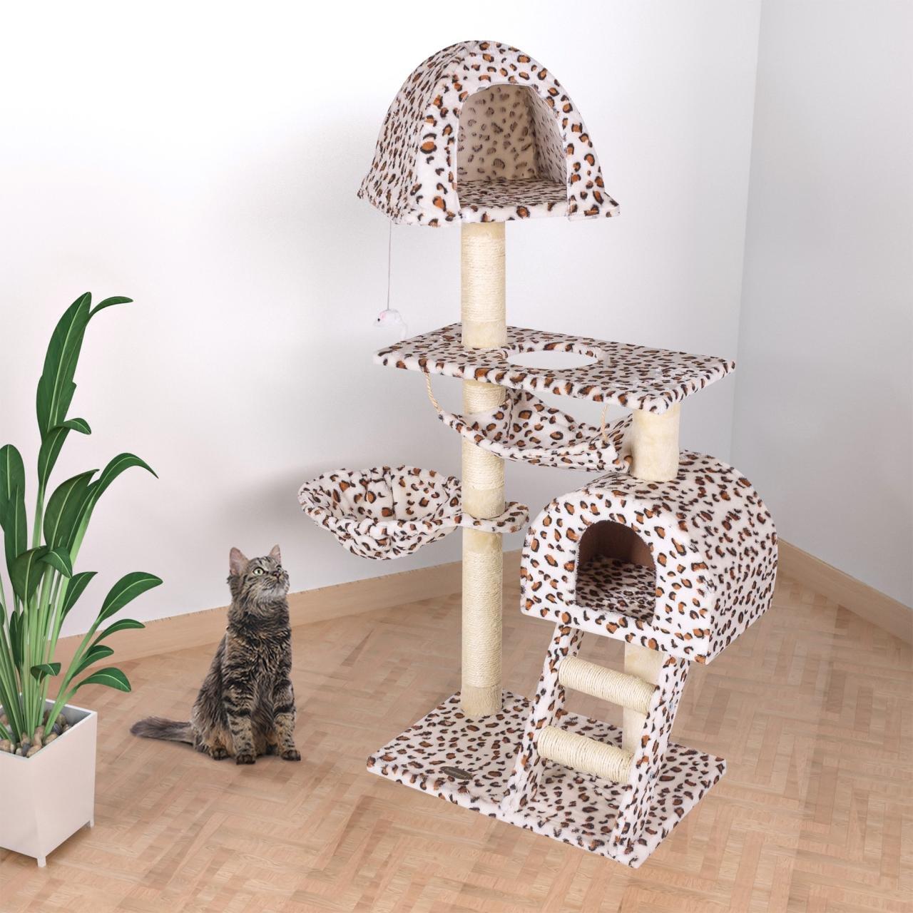 Happypet Árbol Gimnasio para gatos de Sisal, rascador, tamaño mediano grande, 130 x 65 x 45 cm.: Amazon.es: Productos para mascotas