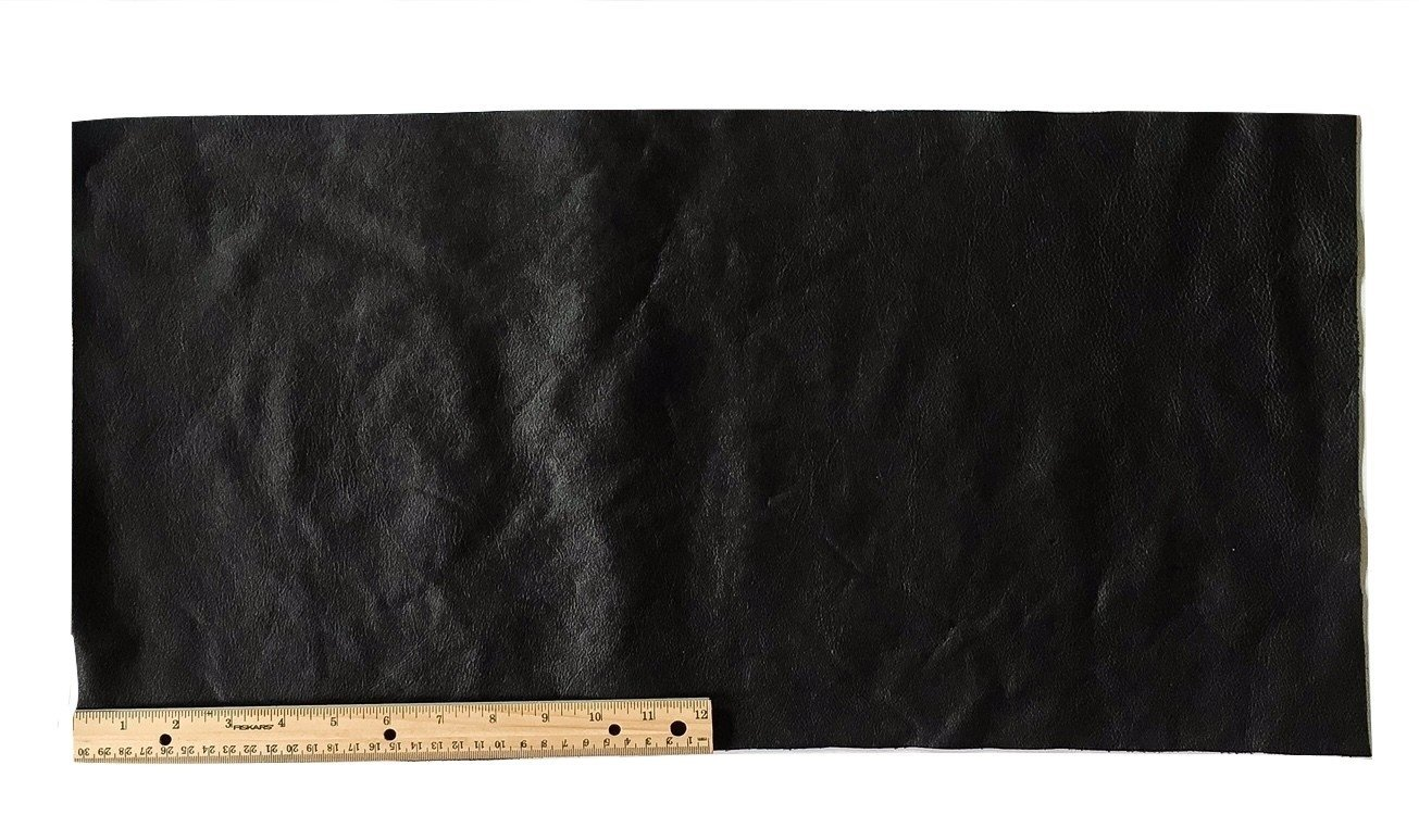 A-1 Upholstery Leather Piece Cowhide Black Light Weight 12 x 24 inches 2 SF Dangerous Threads