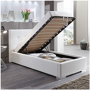 Einzelbetten Mit Bettkasten polsterbett bett mit bettkasten 90x200 weiß betty lattenrost