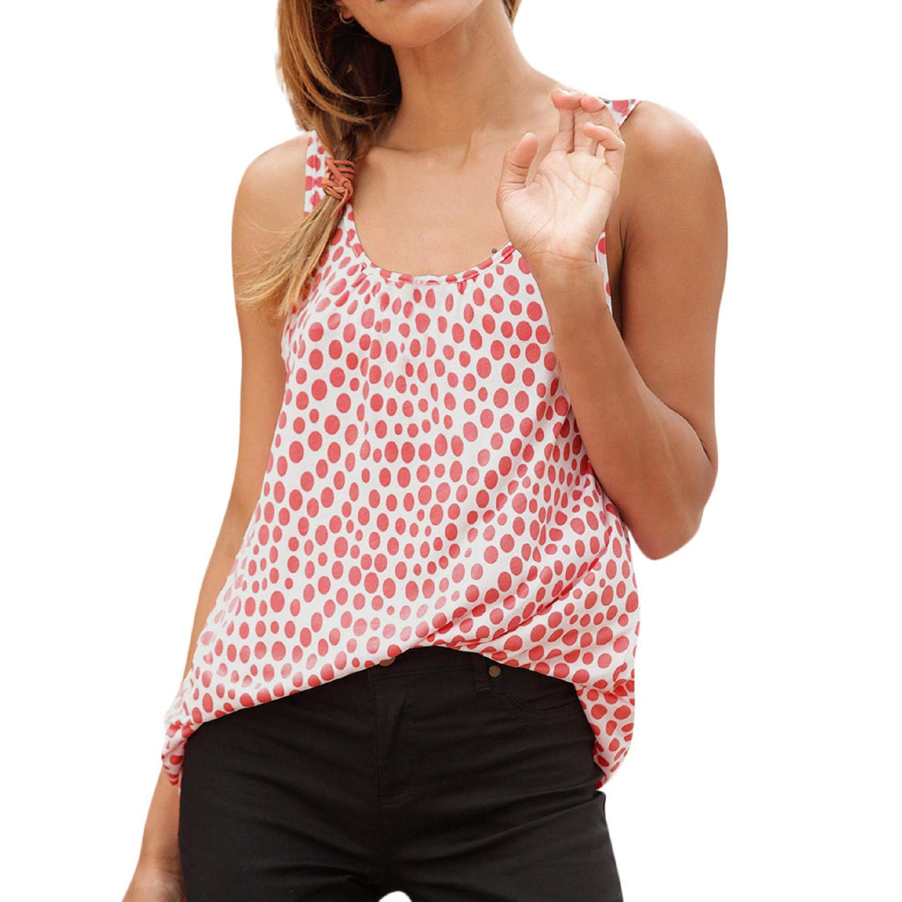 Women Summer Halter Sleeveless Polka Dot Tank Top Sexy Casual Strappy Vest Tops Loose Blouse Pink