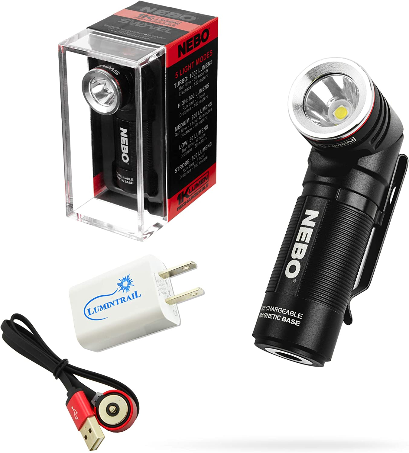 Nebo Swyvel Rechargeable Flashlight 1000 Lumen Light with Rotating Head Bundle with a Lumitrail USB Wall Adapter