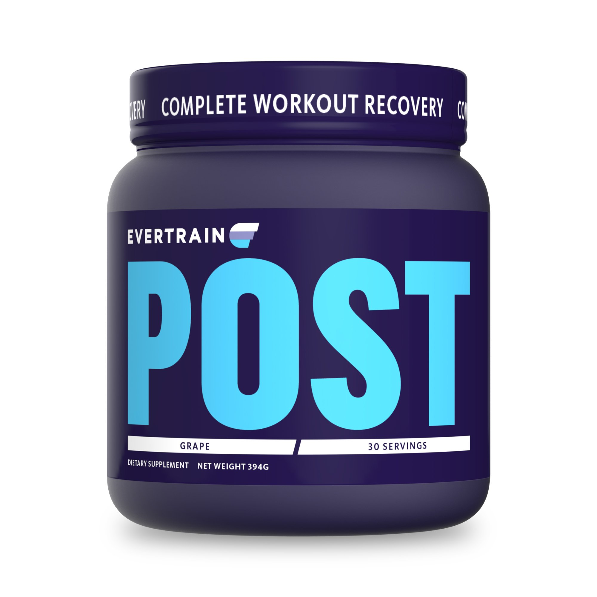 EVERTRAIN POST - Premium Clean Post Workout Recovery Powder With Natural Flavors and Colors - Muscle Repair, Decreased Inflammation, Reduced Recovery Time - Vegan Friendly - Grape - 30 Servings