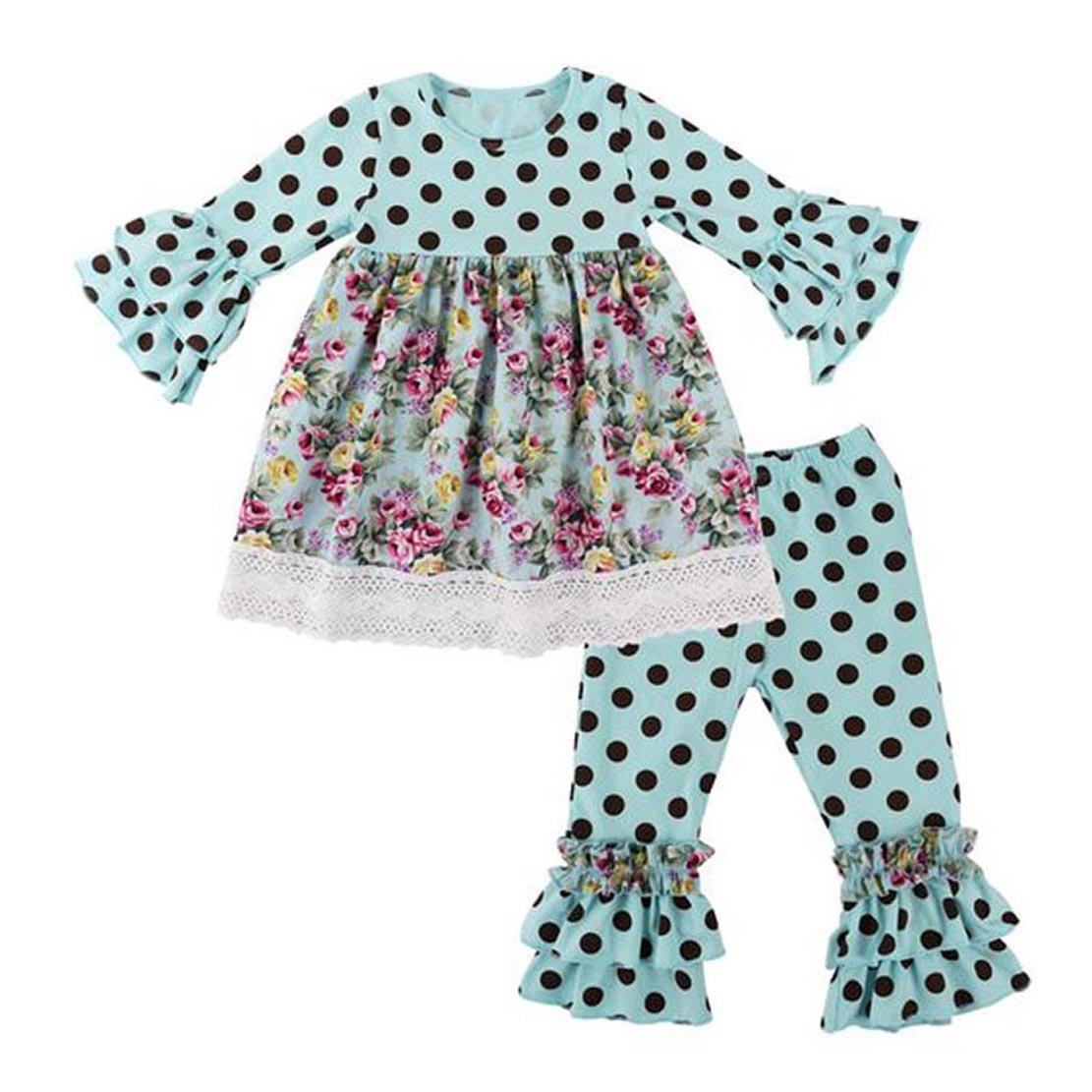 GIRLS BOUTIQUE Flower Print Tunic DRESS /& RUFFLED Polka DOT Pant Outfit