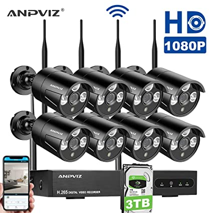 Kit de Cámaras Seguridad, Video Kit de vigilancia WiFi Anpviz 8CH 1080P HD NVR,
