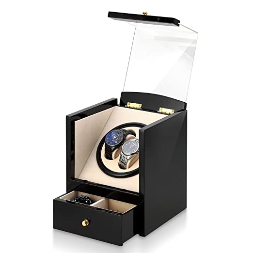 Automatic Watch Winder Box Luxury Wooden For 2 Wrist Watches 2