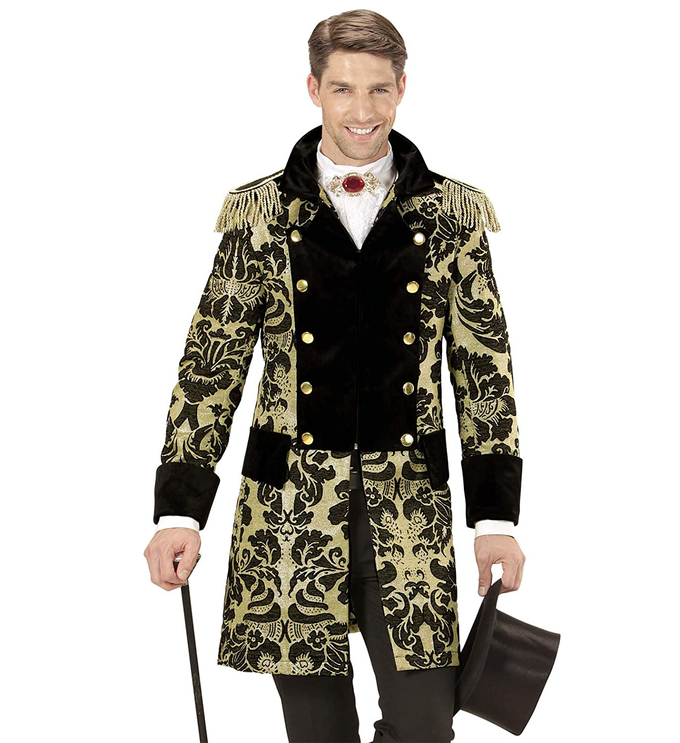 Adults gold Jacquard Parade Coat Costume Circus Fancy Dress Extra Large