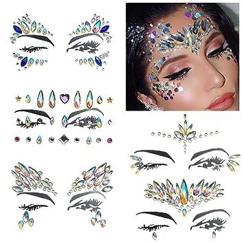 b1ba738ed 5 Sets Temporary Tattoo Mermaid Face Gems Jewels Crystal Rhinestone Party  Festival Body Glitter Stickers Face