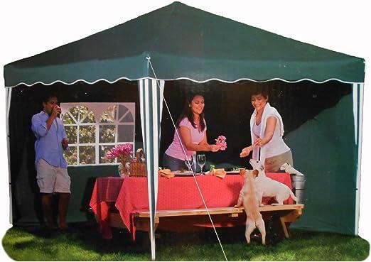 Cenador para jardín con 2 paredes laterales con ventanas, cenador plegable de 3 x 3 m, verde: Amazon.es: Jardín