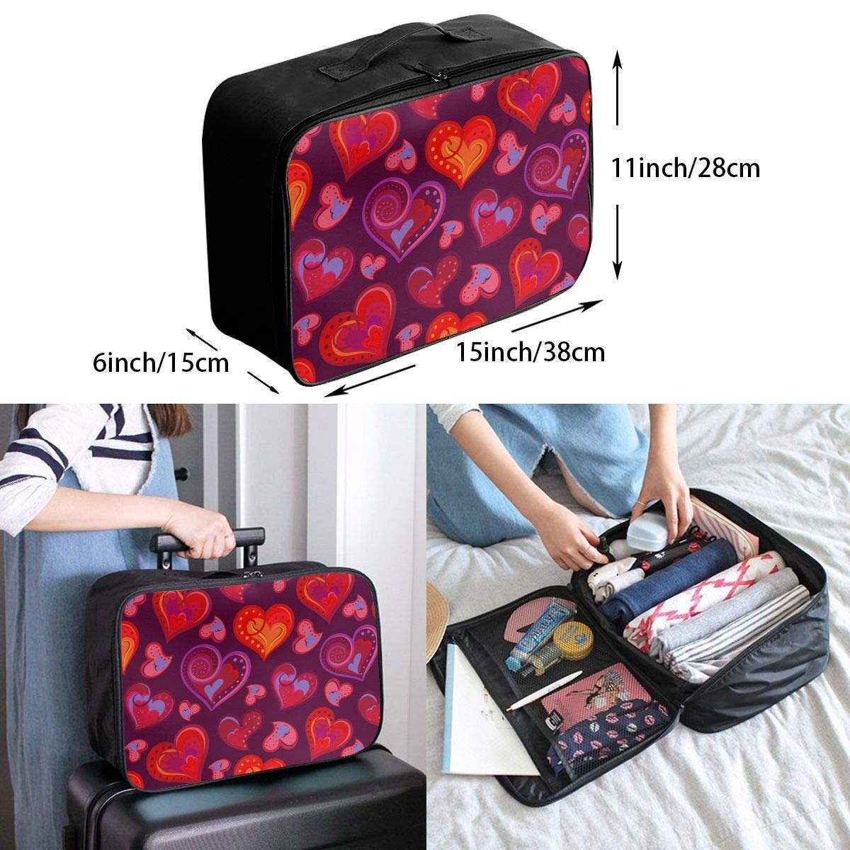 Foldable Travel Bag Travel Duffle Bag Lightweight Waterproof Travel Luggage Bag Love Heart Patterns JTRVW Luggage Bags for Travel
