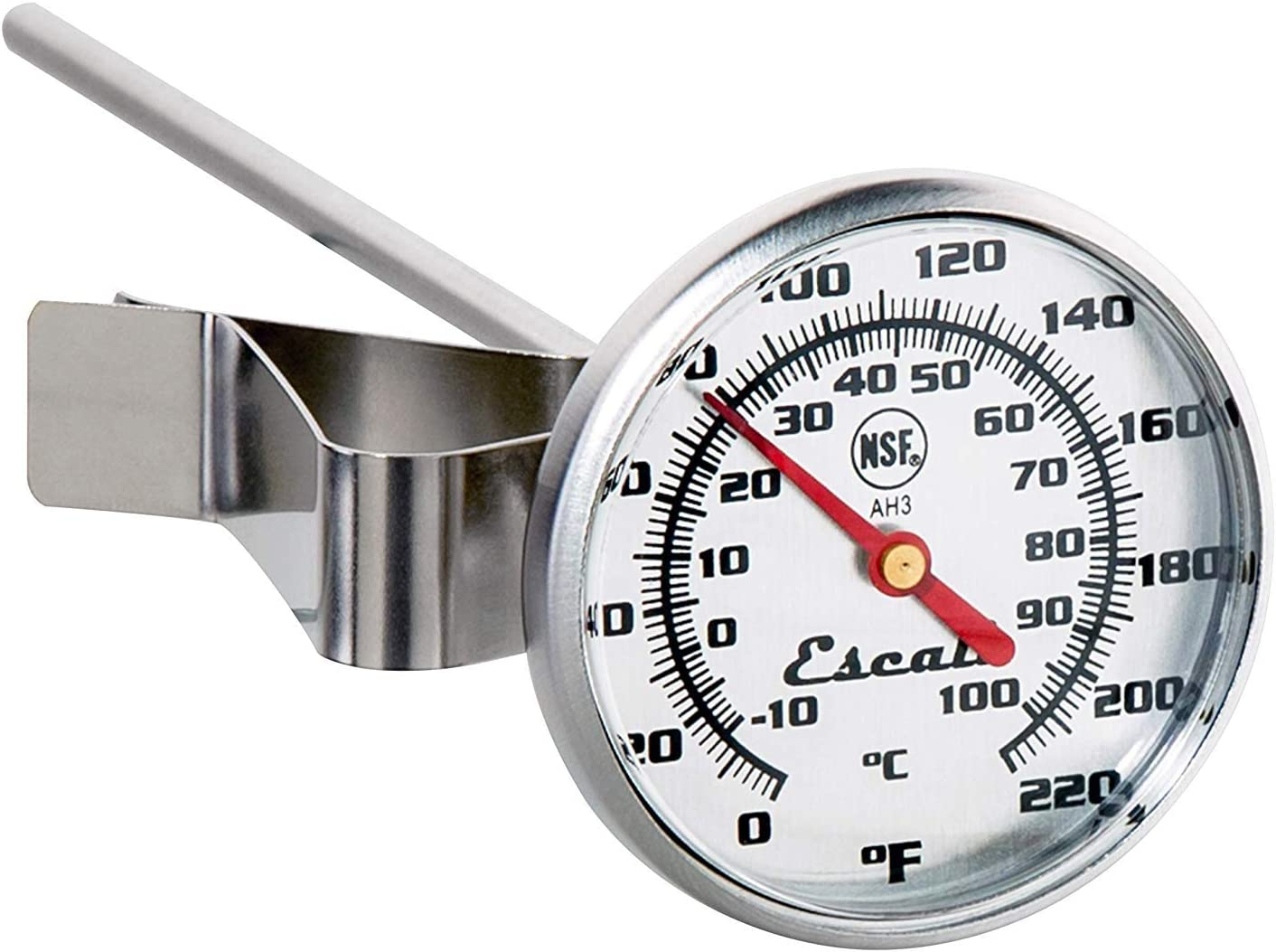 Escali AH3 NSF Certified Commercial Instant Read Large Dial Thermometer W//Clip Silver