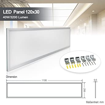 LED Panel Deckenleuchte 120x30cm Neutralweiss 4000K Ultraslim 40W ...