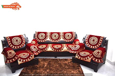 A.P Handloom Maroon Sofa Cover with ARM Set of 12PC(3+1+1) USE Both Side