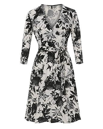 a91f89f199064 Amazon.com  Womens Casual Floral Print Dress V-Neck 3 4 Sleeve Midi ...