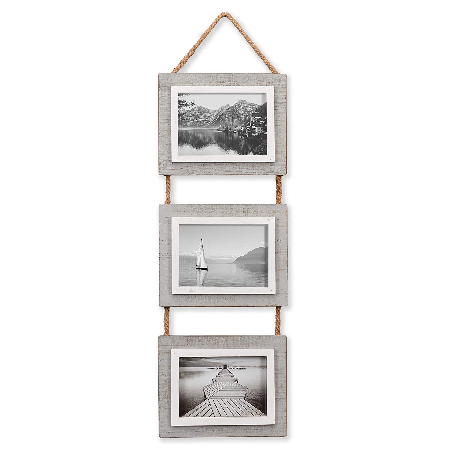 """Barnyard Designs Rustic Hanging Picture Frame Set - Vertical Wood Photo Frame Display - 3, 5"""" x 7"""" Frame Set on Hanging Rope in Weathered Wood Finish, 27"""" x 9.5"""""""