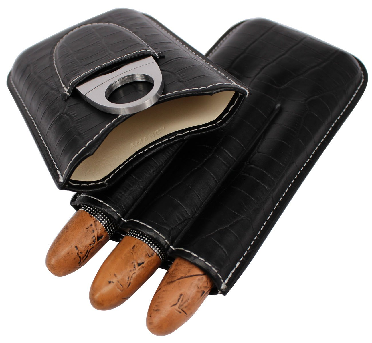 AMANCY Professional Black Crocodile Texture Leather 3 Holders Travel Cigar Case with Cutter Set