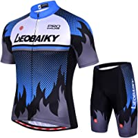 Leobaiky Men's Cycling Jersey Short Sleeve Men MTB Bike Clothing Road Bicycle Shirts Shorts Padded Pants Breathable Quick Dry