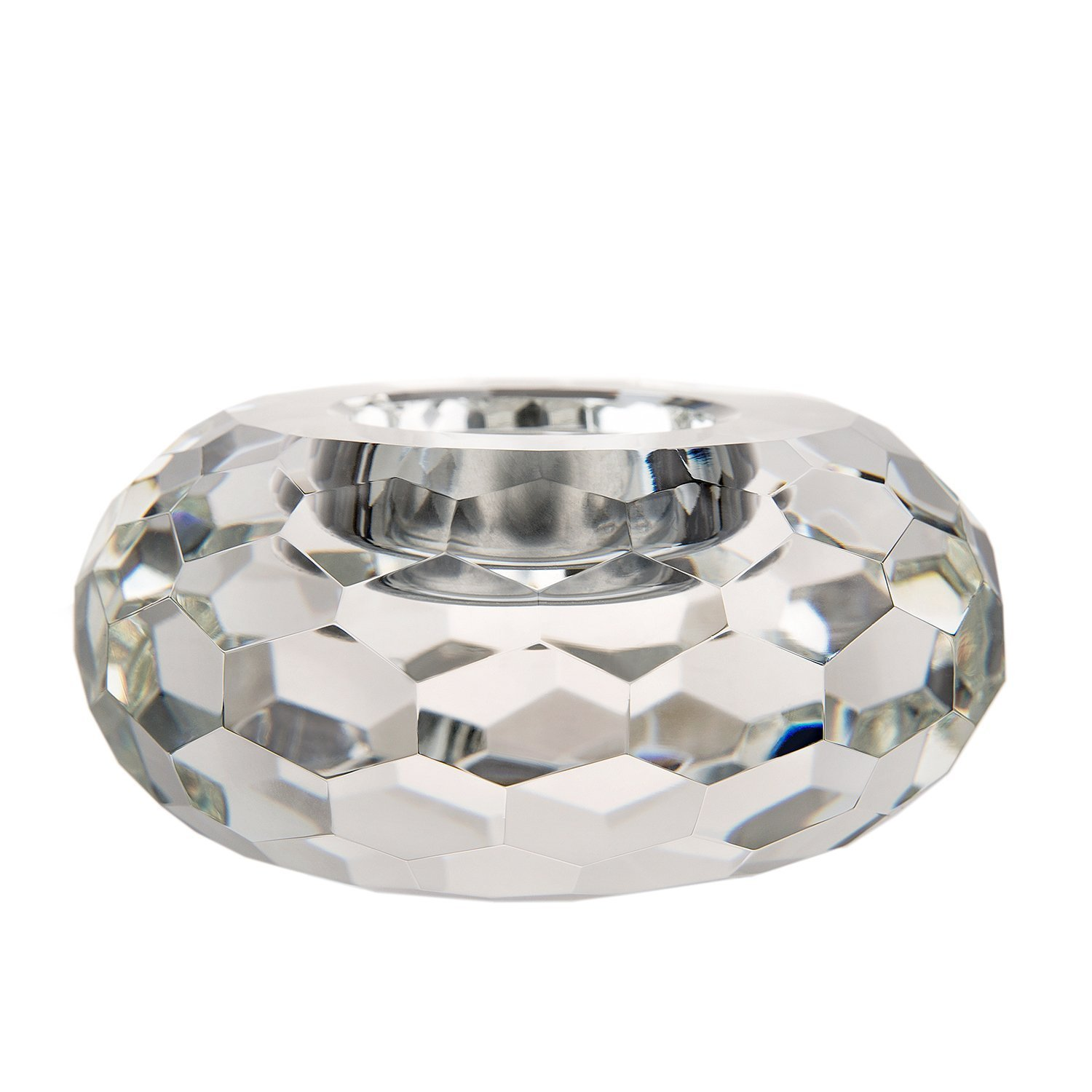 DONOUCLS Pack of 2 Hand Cut Crystal TeaLight Candle Holders Clear with Gift Box Small 4x8cm Xinyan Crystal