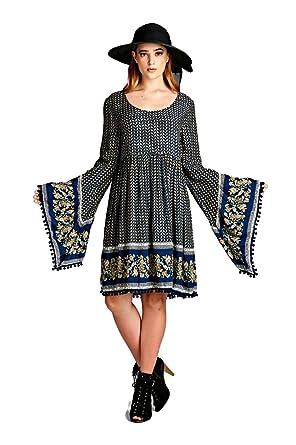 a1bc5c468f2 Velzera Paisley Print Print Dress with Bell Sleeves Boho Chic Plus Size  (1X