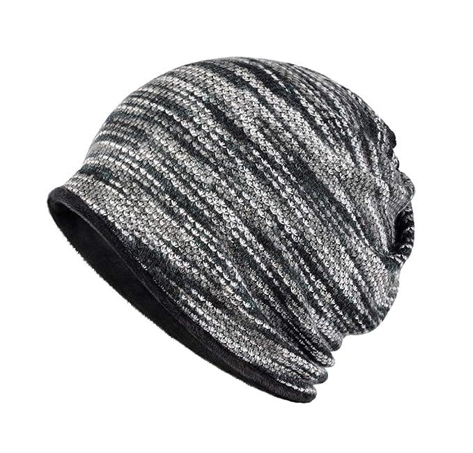 f9eee136 BIKMAN Winter Warm Ski Cap Plus Velvet Thick Striped Beanie ...