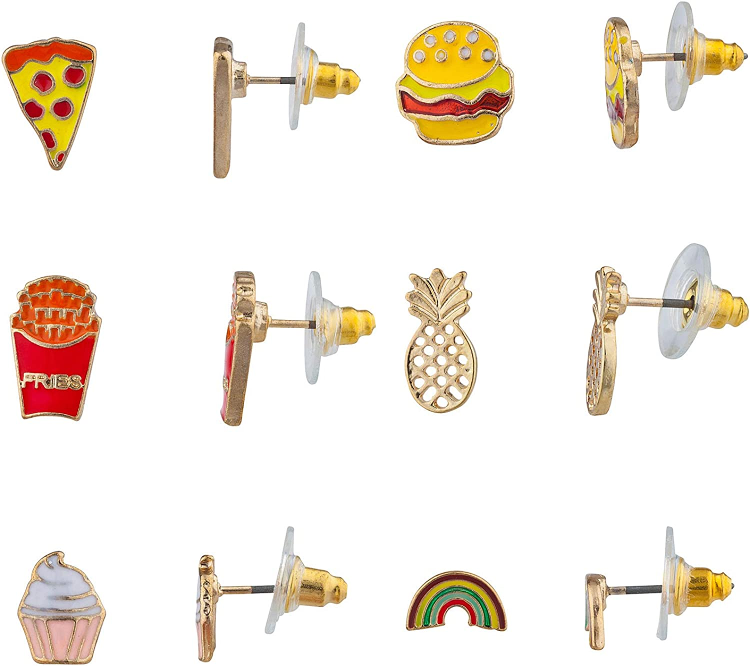 Lux Accessories Gold Tone Cupcake Fries Burger Pizza 6 Pcs Set of Stud Earrings