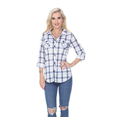 6d48ebd6937ca White Mark Women s Roll Up Long Sleeve Plaid Button Down Casual Shirt in  Blue   White