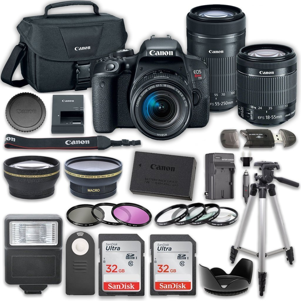 Canon EOS Rebel T7i DSLR Camera Bundle with Canon EF-S 18-55mm f/4-5.6 IS STM Lens + Canon EF-S 55-250mm f/4-5.6 IS STM Lens + 2pc SanDisk 32GB Memory Cards + Accessory Kit by Canon