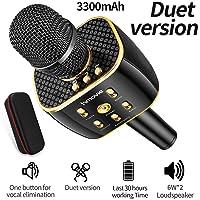 Karaoke Microphone Wireless, Dual Sing Duet Version 3300mAh Handhold Karaoke Mic Portable Wireless Microphone ,Dual Speakers Kids' Karaoke Machines for Outdoor Home Party KTV Playing Singing Music, Gift for Fun