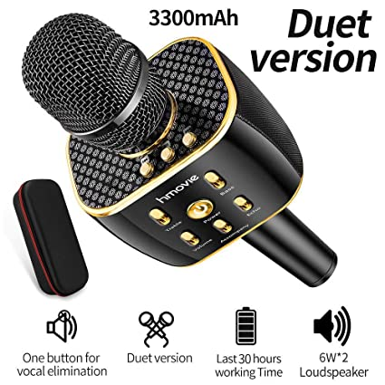 3300mAh Dual Sing Duet Version Wireless Karaoke Microphone 12w Hi-Fi  Built-in Dual Speakers Bluetooth Player for iPhone Android Smartphone