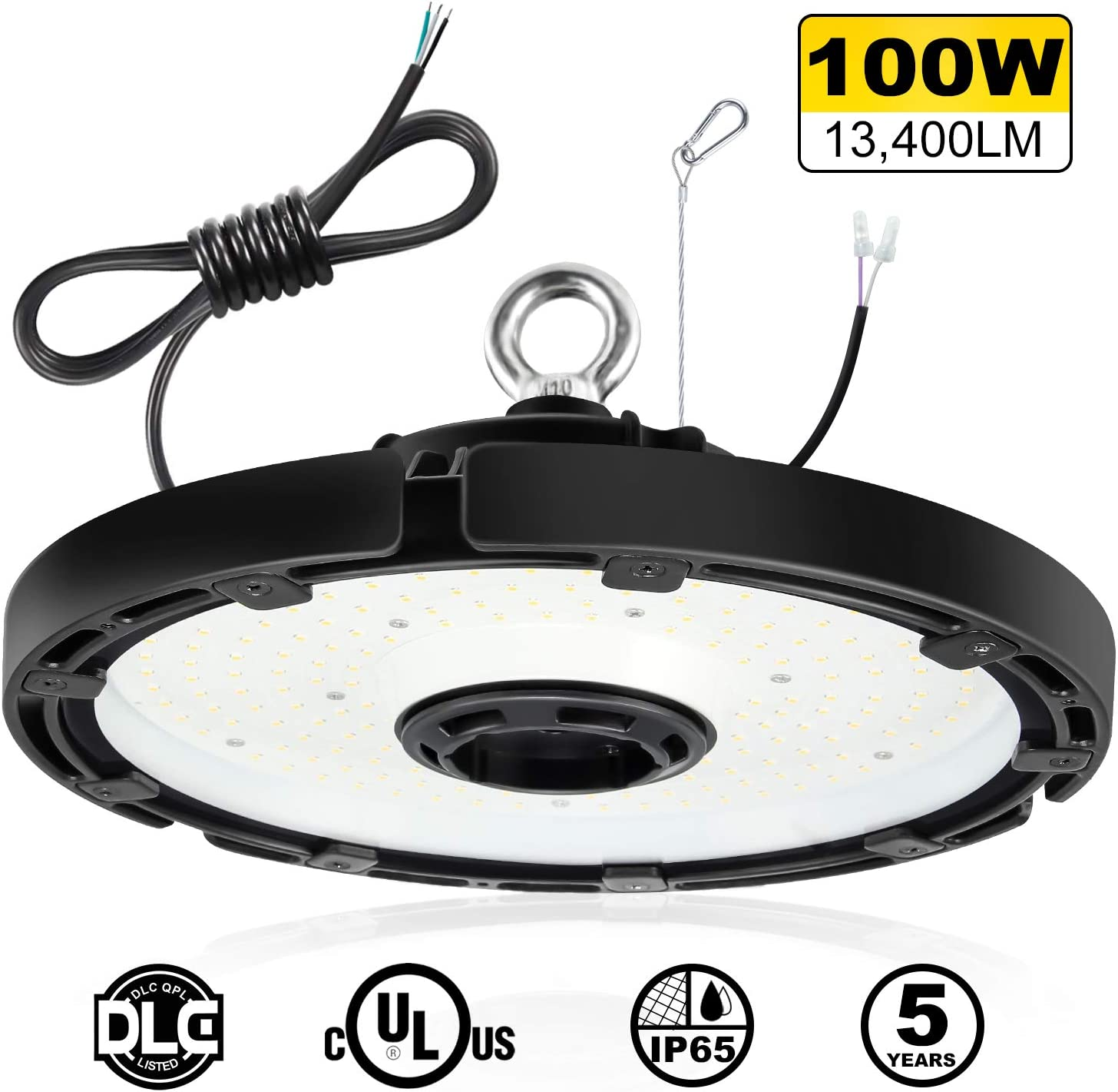 LED High Bay Light UL DLC Listed 100W Dimmable UFO High Bay Lights 5000K 14000Lm Super Bright Commercial Warehouse Lighting Fixture with 5ft Cable and Durable Safety Rope 350W MH//HPS Equivalent