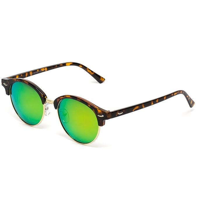 9ad9a97852 Amazon.com  WearMe Pro - Round Retro Semi Rimless Retro Sunglasses (Tortoise  Frame Mirror Orange-Pink Lens