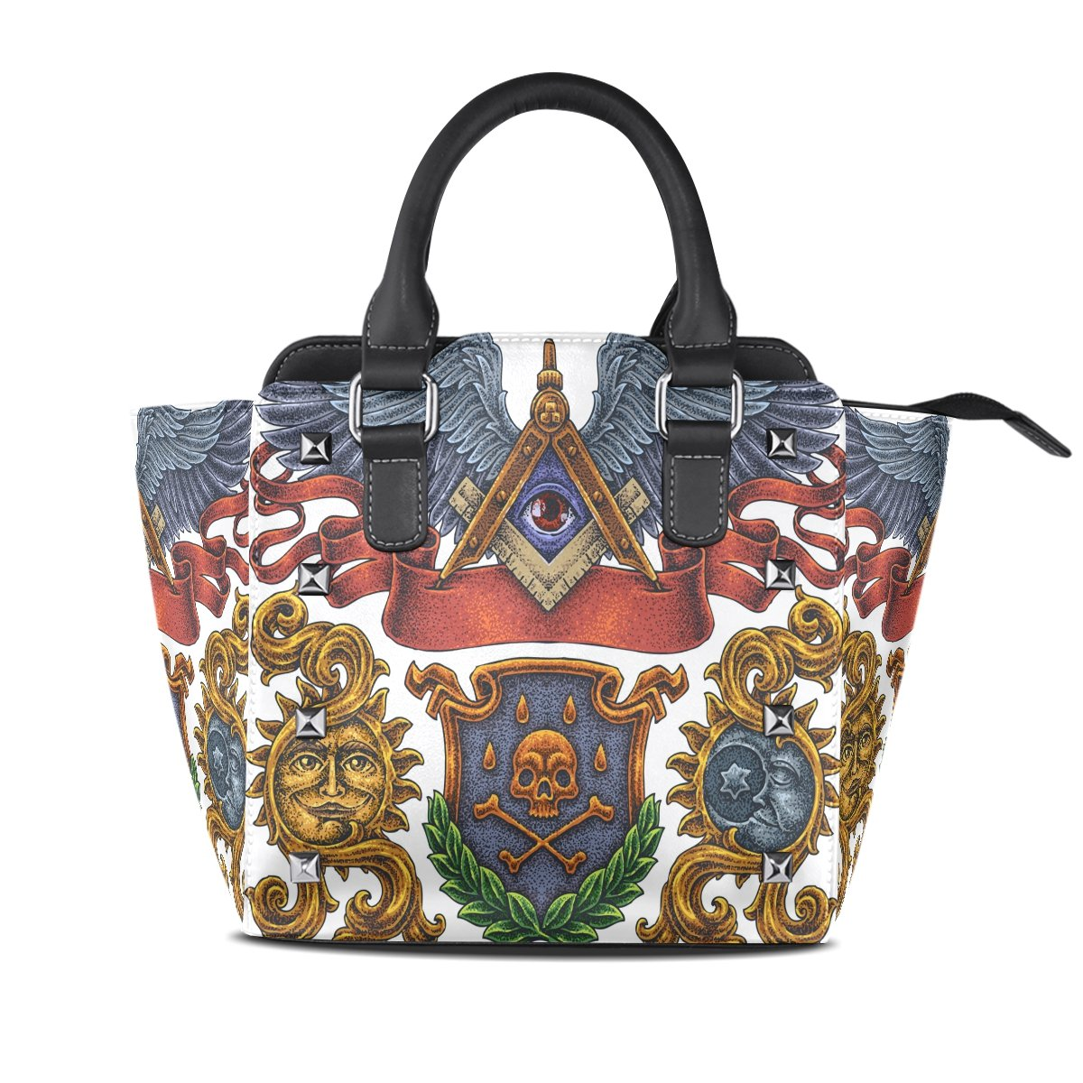 Womens Genuine Leather Hangbags Tote Bags Abstraction Purse Shoulder Bags