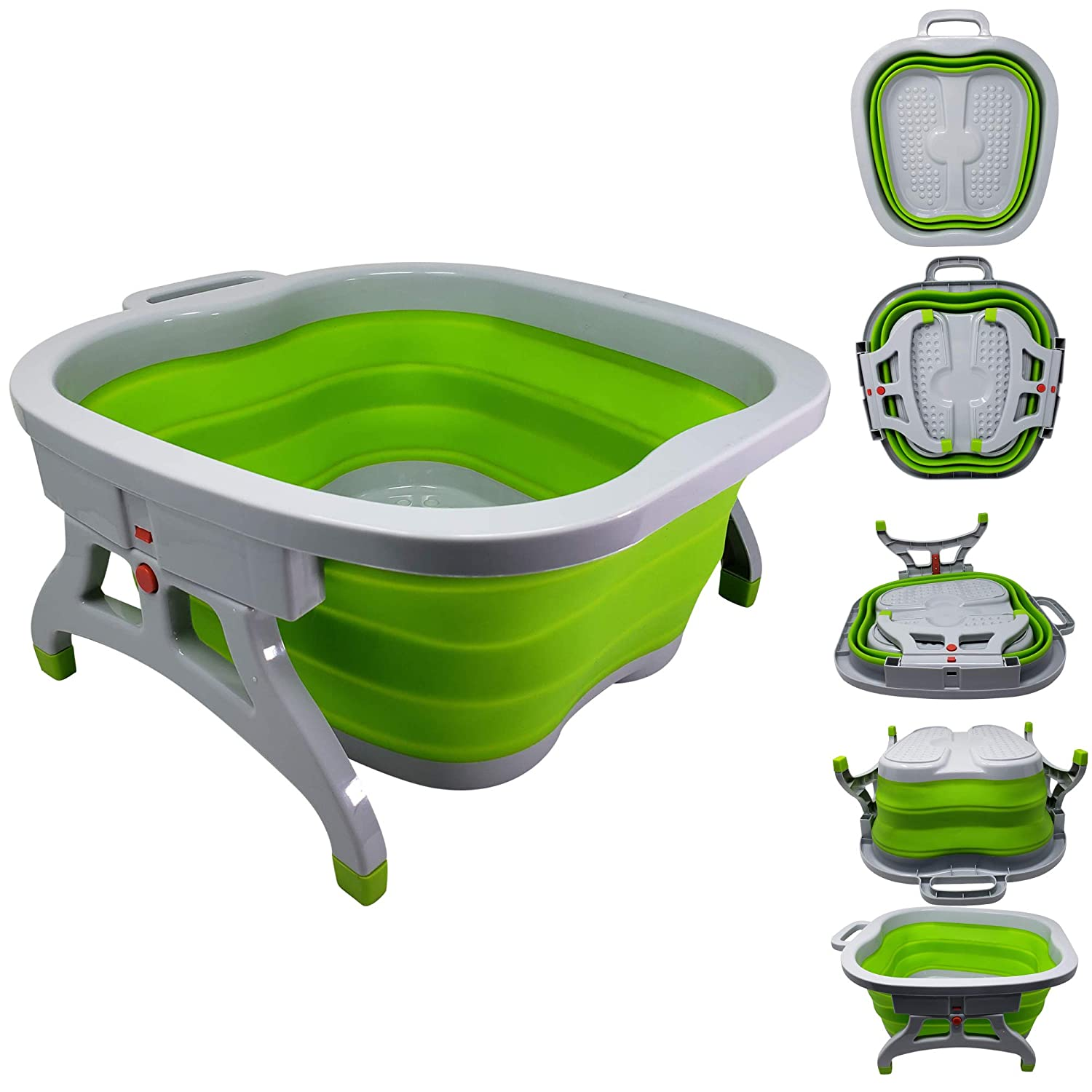 Large Foot Soaking Tub, bucket for feet, foot bath, foot tub, for at Home Spa Pedicures. Plastic/Rubber Foldable Bucket For Soaking Feet to Apply Callus Remover, or Use Pumice Stone (Green)