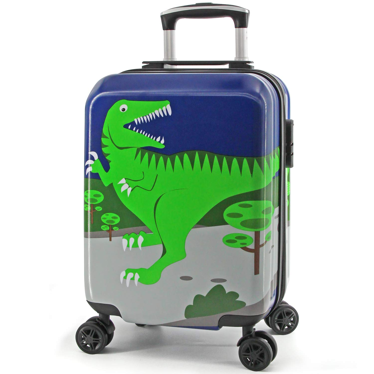 Lttxin Kids' suitcase 16 inch Polycarbonate Carry On Luggage Lovely Children travel (upgrade-dinosaur perfect printing)