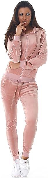 Jela London Damen Jogginganzug Trainingsanzug Hausanzug Freizeit Velours Samt Zweiteiler Set Jacke Hose (34/36/38/40)