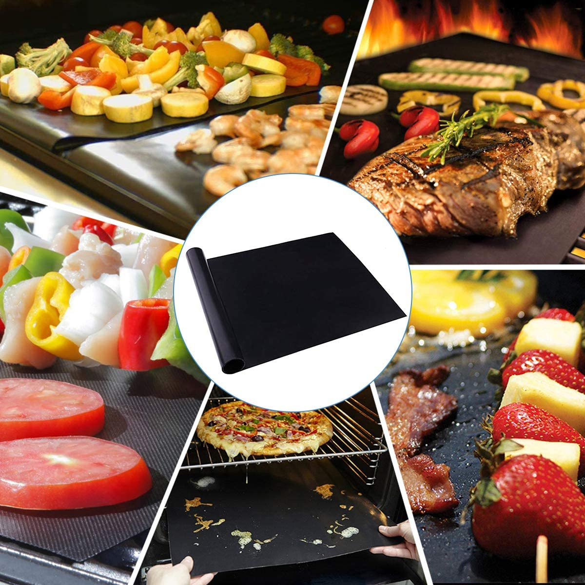 Ruiqas 1 Pc Barbecue Grill Tapis Réutilisable Antiadhésif Barbecue Feuille pour Griller Cuisson Maison Parti Outil de Cuisine 40x33