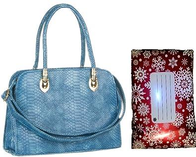 542498dca Quality blue croc skin patent Handbag Elegant Womens Designer Inspired  snake skin embossed Shoulder in free