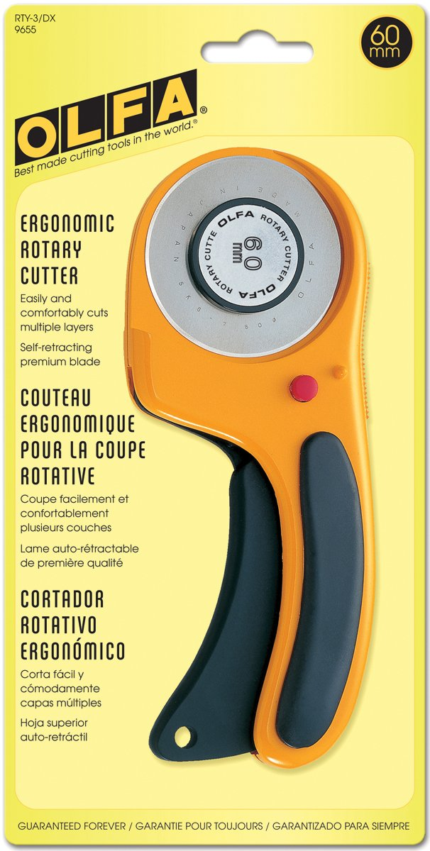 OLFA Deluxe Rotary Cutter-60mm, black and yellow