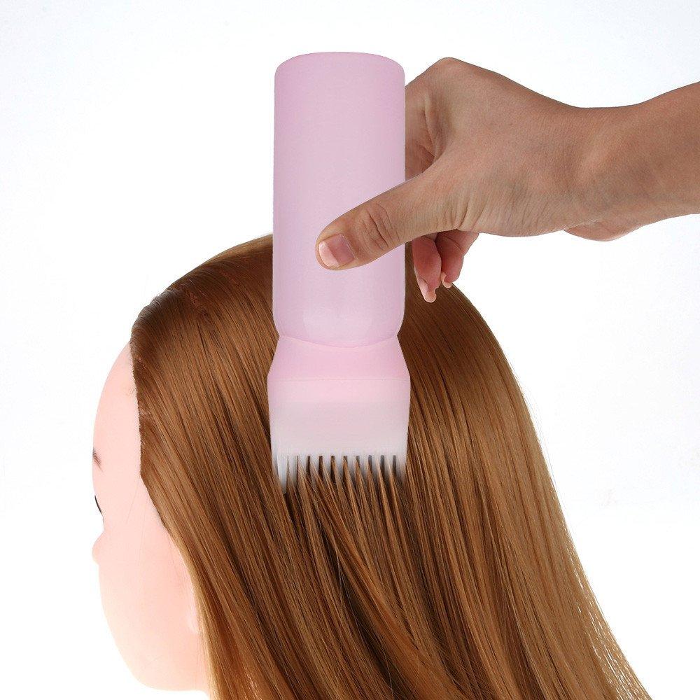 Mandystore Hair Dye Bottle Applicator Brush Dispensing Salon Hair Coloring Dyeing (Pink)