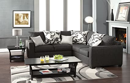 Bon Cranbrook Contemporary Style Medium Gray Fabric Sectional Sofa With Square  Arms And Throw Pillows Made In