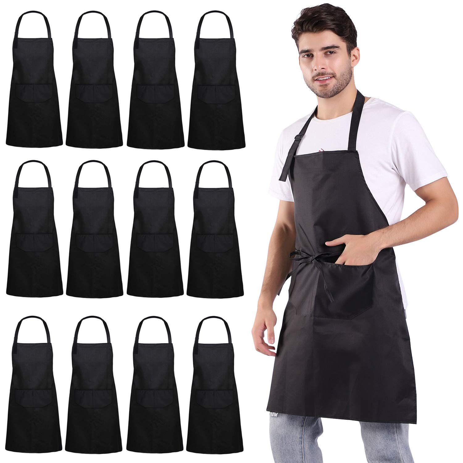 ALIPOBO 12 Pack Aprons for Women and Men, Kitchen Chef Apron with 2 Pockets and 40'' Long Ties, Adjustable Bib Apron for Cooking, Serving - 32'' x 28'' - Black by ALIPOBO