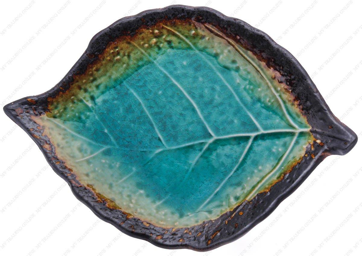M.V. Trading MFJFL1MV Japanese Turquoise Kosui Green Leaf Plate, 8 x 5.25 Inches, Set of 1 Plate