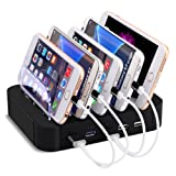 Multi-Port USB Charging Station, Aonokoy Inc 5 Ports Fast Charger Multi-Device Organizer Charge Docks Desktop Stand with Cord Storage for iPhone Huawei Samsung Smartphones and Tablets