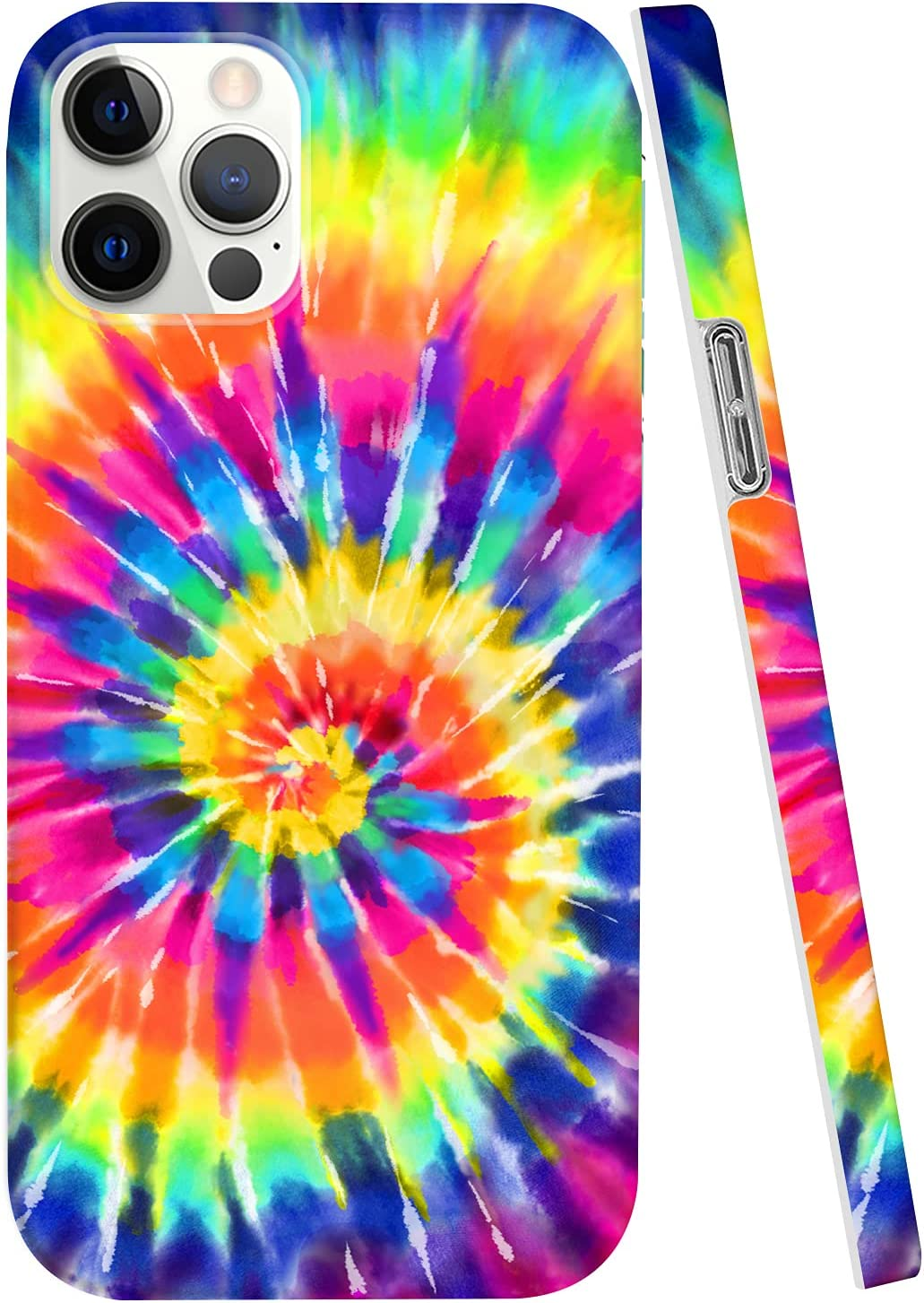Hepix Rainbow Compatible with iPhone 12 Pro Max Case Tie Dye iPhone 12 Pro Max Case 6.7 Inch 2020,Graphics Abstract Colorful Phone Case Anti-Yellow, Shockproof Protective Cover for iPhone 12 Pro Max