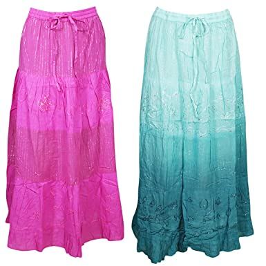 best collection top-rated original new high Mogul Interior 2pc Womens Pink, Green Maxi Skirt Cotton ...